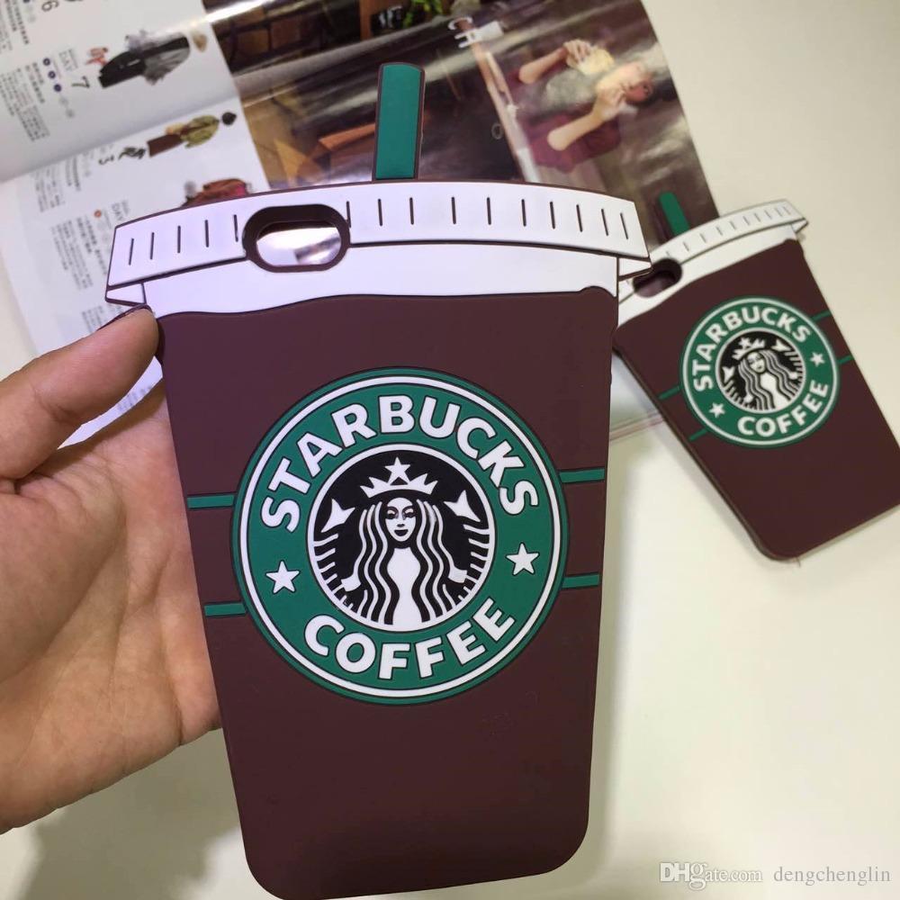 3D Cartone Starbucks in Silicone Gomma Custodia Cover per iPhone 7