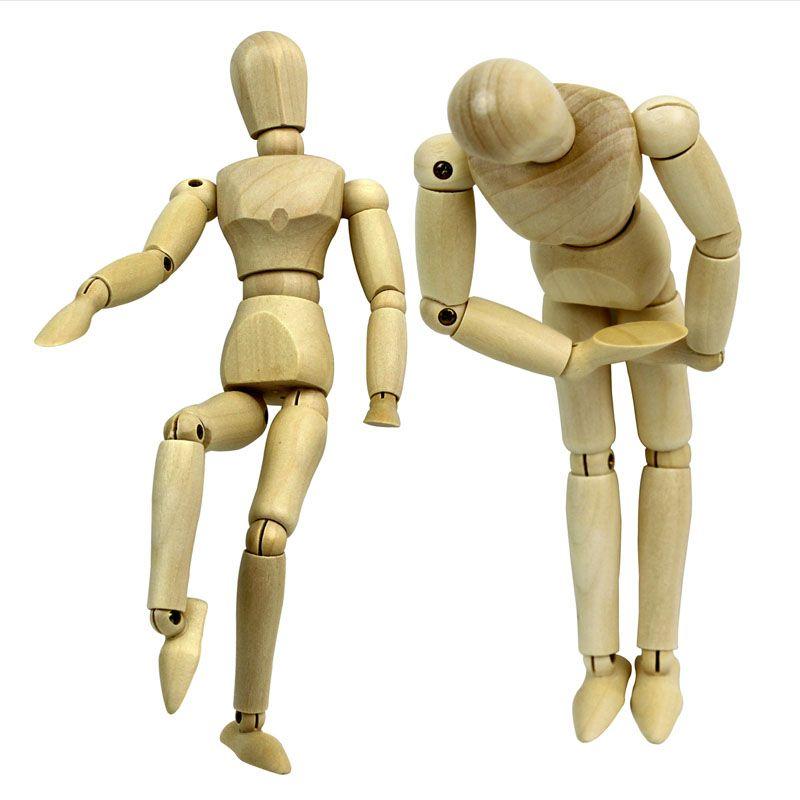 8 pollici fai da te divertente bambola di legno puppet pittura modello di legno maschio artista manichino snodato manichino mano blockhead puppet giocattoli di apprendimento regalo sk365