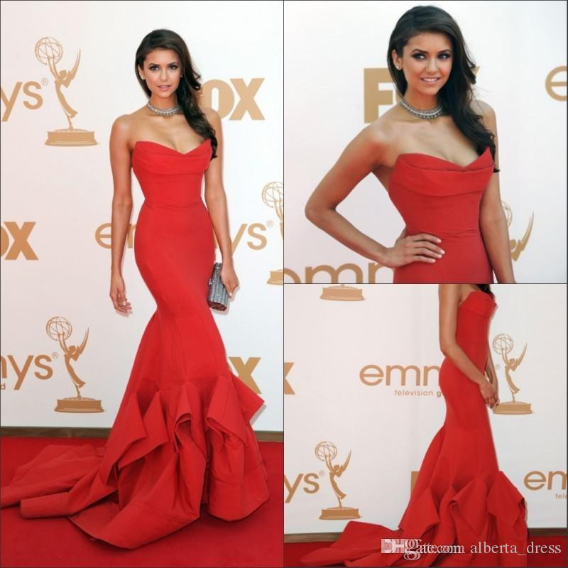 2015 New Emmy Awards Celebrity Dresses With Strapless Ruffles Backless Mermaid Sweep Train Satin Red Nina Dobrev Evening Prom Party Gowns