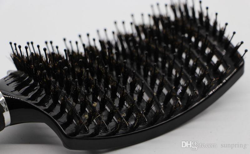 Black Boar Bristle Hair Brush Best For Detangling All Hair Types Vented Professional by DHL