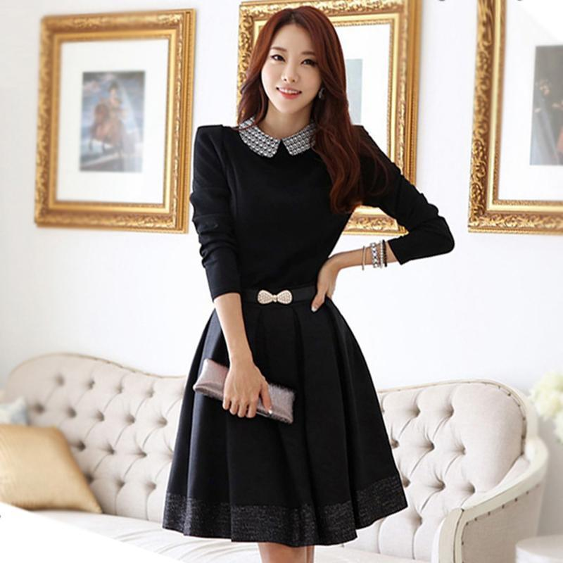 New Arrivals 2015 Korean Style Women Dresses Black Long Sleeve Autumn Dress Plus Size Women