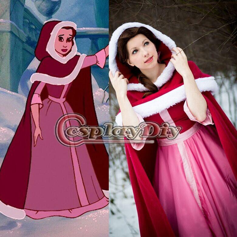 Custom Made Beauty And The Beast Belle Princess Red Dress Little Riding Hood Cosplay Costume Adult Women Party Themes Funny