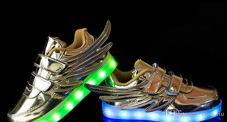 Çocuklar LED Kanat Sneakers ayakkabı Erkek Kız Şık 7 ADET LED Işık Aydınlık Çocuk Spor Atletik Ayakkabı Yeni Stil