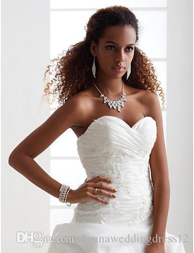 2016 Nieuwe Hot Fashion Gratis Verzending Elegante Baljurk Ivory Chapel Train Appliques Sweetheart Satijn / Taffeta Trouwjurken 223