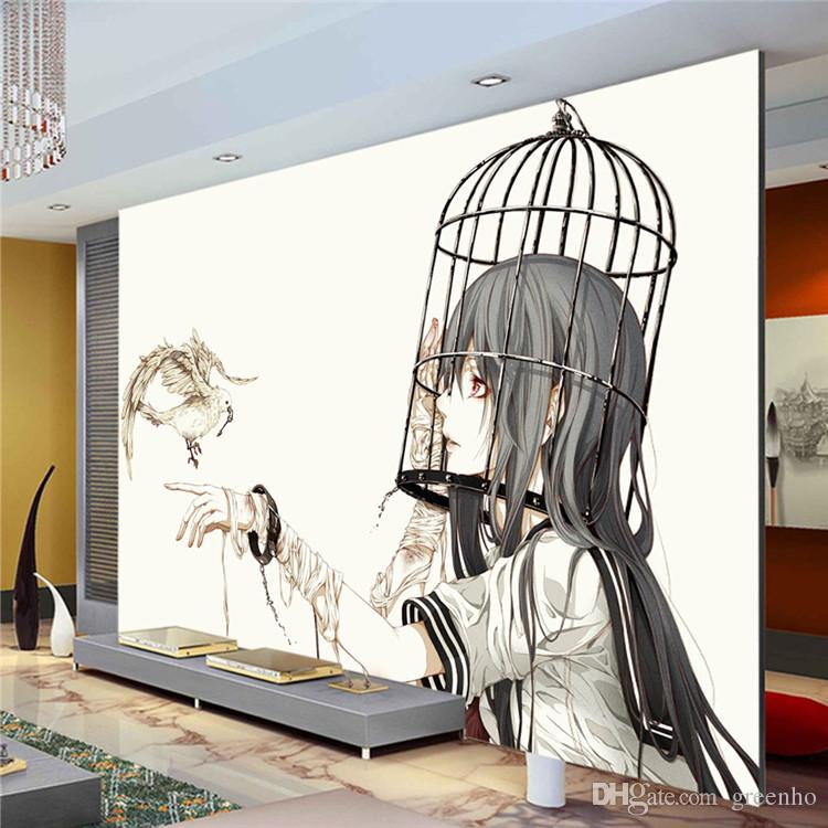 Großhandel Cartoon Fototapete Pigeon Girl Fototapete Moderne  Minimalistische Anime Wallpaper Art Malerei Zimmer Dekor Kinderzimmer  Schlafzimmer Tv Wand Von ...