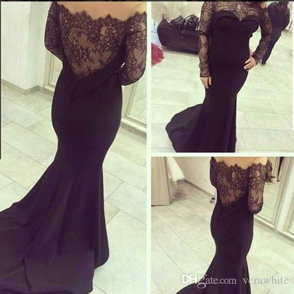 Elegant Black Evening Prom Gowns Sheer Neck Formal Party Dresses 2016 Occasion Dress Mermaid Jewel Long Sleeve Lace Celebrity Arabic Dubai