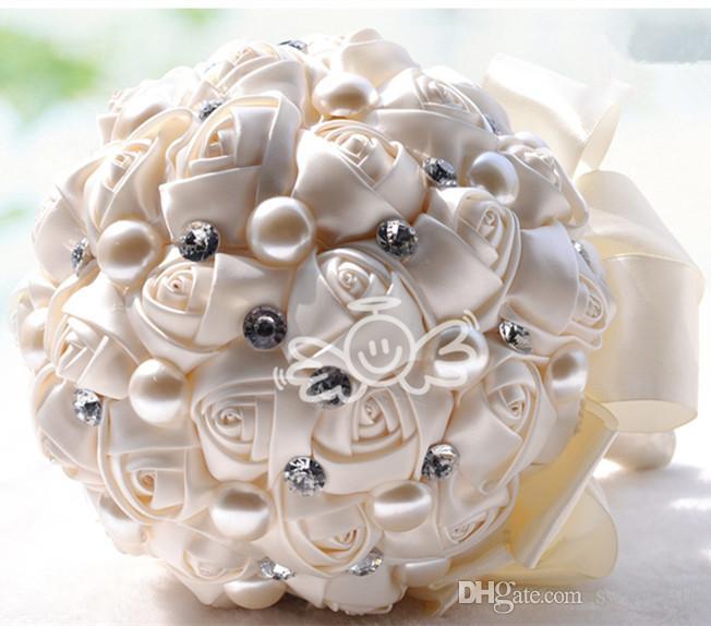 2019 Luxus Braut Hochzeit Bouquet Günstige Künstliche Creme Fuchsia Blau Brautjungfer Blume Kristall Perle Silk Rose Hochzeitsdekoration Auf Lager