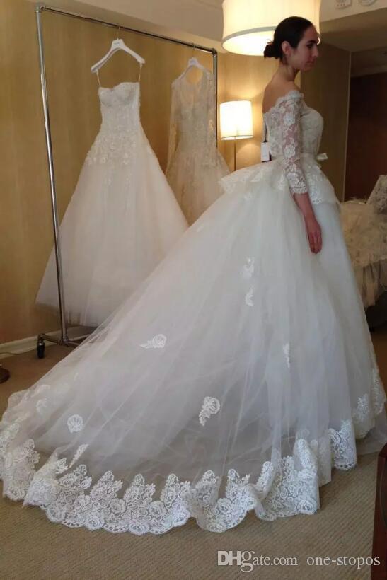 Modest Detachable Wedding Dresses Lace 3/4 Long Sleeves Bridal Gowns Elegant off the Shoulder vestidos de novia Custom Made 2018