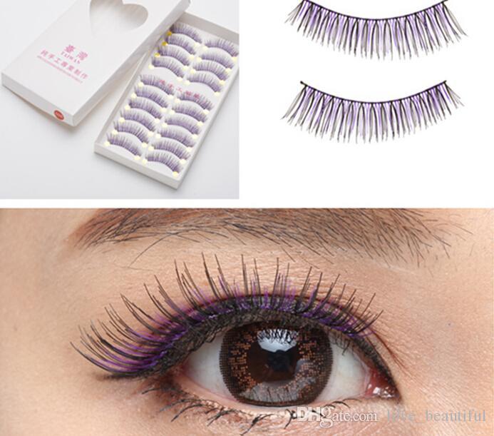 Taiwan Pure Manual False Eyelash 026 Purple Black Thick Style