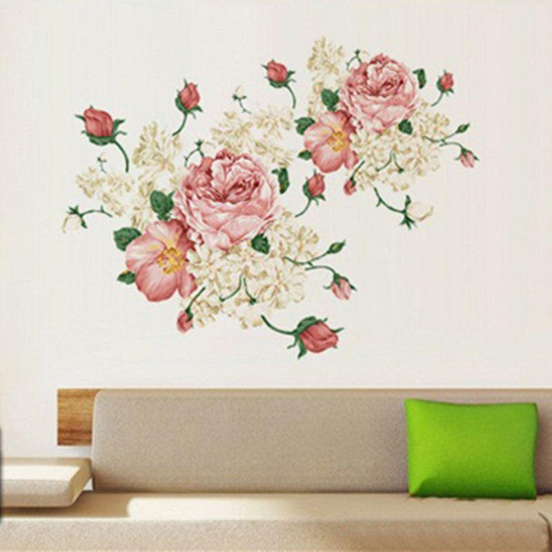Large Pink Peony Large Vinyl Wall Stickers Bedroom Living Room Decorative  Wall Art Decals On The Walls Decor Kids Removable Wall Stickers Kids Room  Stickers ...