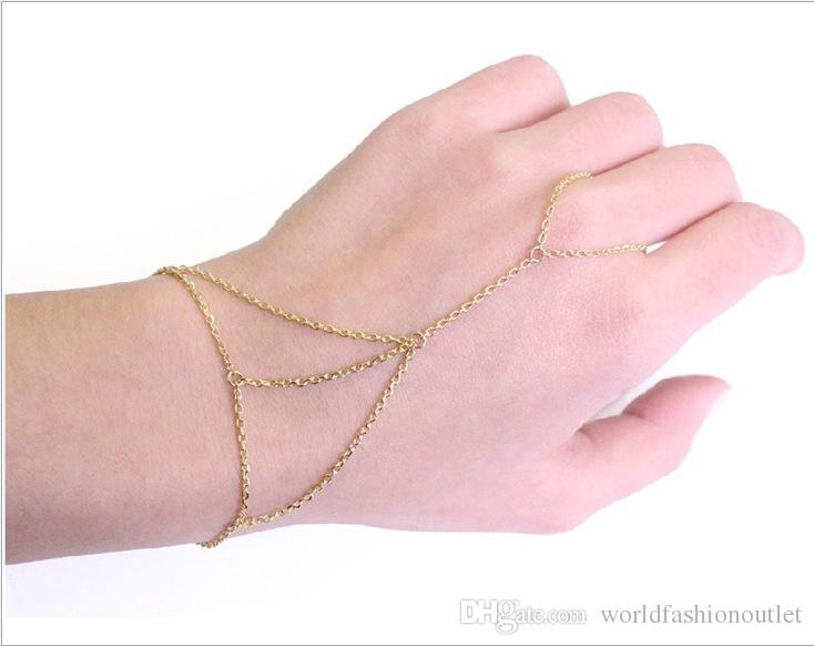Fashion Jewelry chain bracelet Bangle Charm Bracelets Women Gold Tone Bracelet Bangle Slave Chain Link Interweave Finger Ring Hand Harness