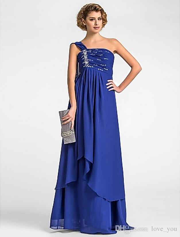 One Shoulder with Ribbon A Line New Mother of the Bride Dresses Beads Sleeveless Chiffon Floor-Length Evening Gowns Mother's Dresses