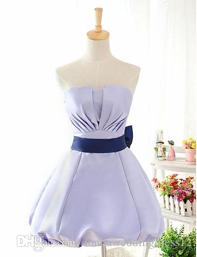 2016 New Cheap Simple Pupolar Free Shippping Lavender / Champagne / Sky Blue Ball Gown Strapless Knee-length Satin Bridesmaid Dress 184