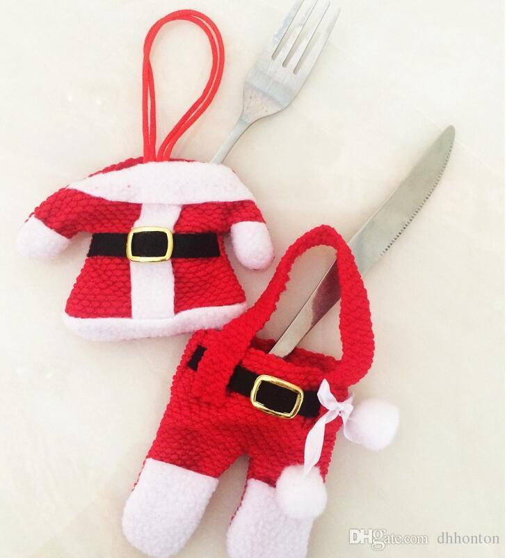 decoraciones de la mesa de navidad Santa titular de los bolsillos de plata decoración de la cena decoraciones de navidad venta al por mayor CT041