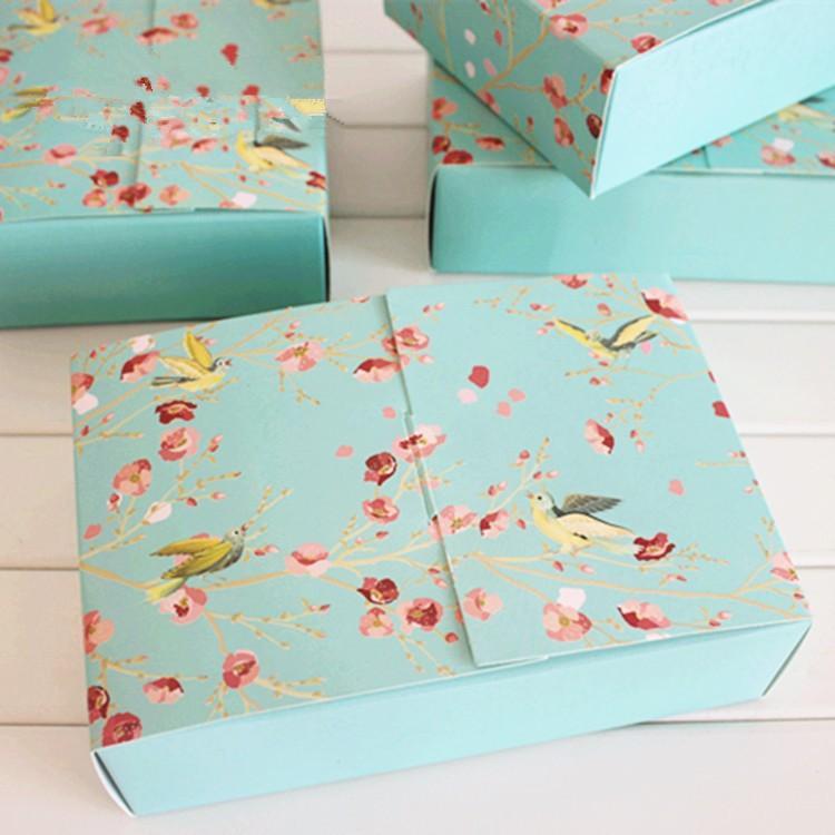 Il trasporto libero 20 PZ grande fiore blu uccelli decorazione panetteria pacchetto dessert caramelle biscotto torta scatola di imballaggio scatole regalo fornitura favori
