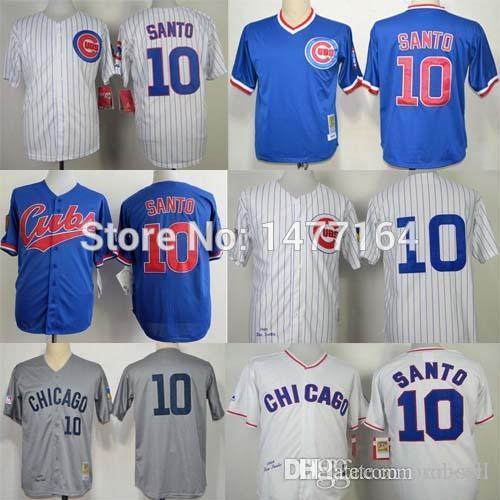 2017 2015 new chicago cubs throwback baseball jersey 10 ron santo gray white blue mens baseball