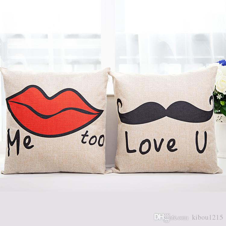 Pillowcase Love Designs: Two Pairs Love You Pillowcase 18x18 Inches Pillow Cover Beard    ,