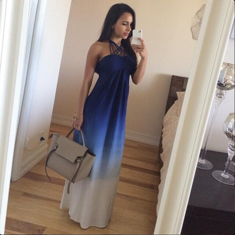 cbd09d0de8a Hot Sale Latest Gradient Chiffon Evening Dresses 2016 Summer Beach Women  Dress Halter Sleeveless A Line Long Cheap Prom Dress Party Gowns Gradient  Chiffon ...