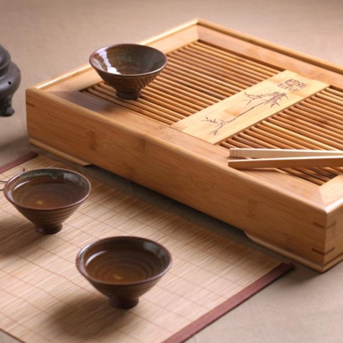 A3888 bambu bandeja de chá, fu conjunto de chá, bandeja de bambu, que contém água de armazenamento do tipo, Escritório sólido teaboard madeira, mesa de chá três tamanho