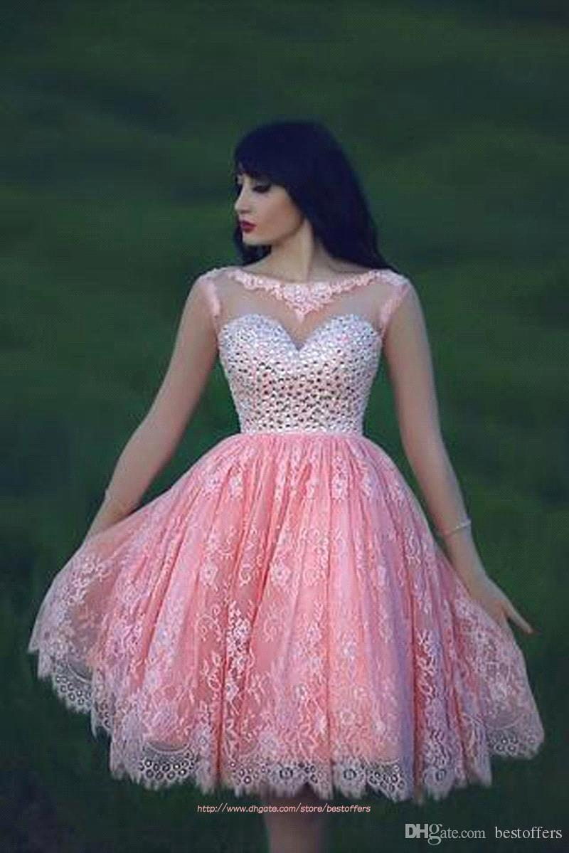 Short/mini Party Dress with Lace Appliques Sheer Long Sleeves Bateau ...