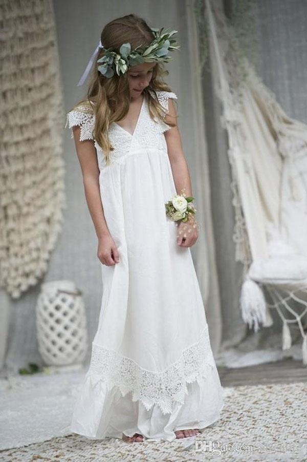 2020 Hot Selling Beach Boho Flower Girl Dresses Chiffon Lace Custom Size Communion Party Gowns V Neck Kid Formal Dresses Customized