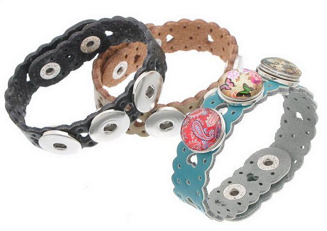 10 unids venta al por mayor pulseras hebilla caliente nueva melocotón del corazón de la onda de bricolaje ajuste Fit botones de presión de cuero real 24 cm / TD