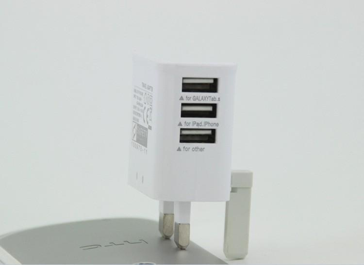 Adjustable 3 USB Ports UK 3 Flat Pin British Plug Home Travel Wall AC Power Charger Adapter For iPhone6 4S 5S 5C iPad 4 Mini Air