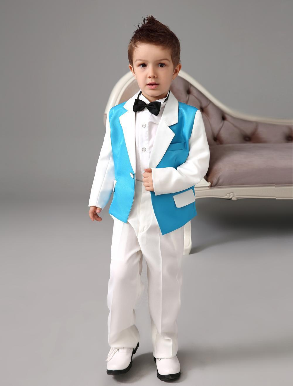 2015 Blue And White Ring Bearer Suits Cool Boys Tuxedo ...