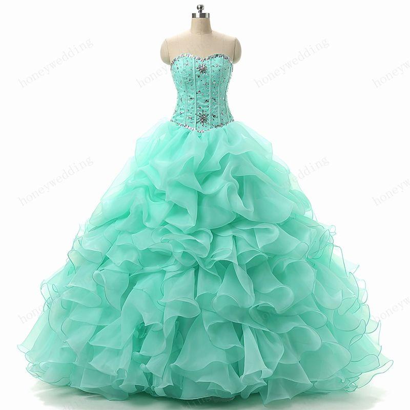 Mint Green Quinceanera Kleider Schatz Mit Kristall Perlen Boning Rüschen Organza Günstige Sweet 16 15 Debütantinnen Mädchen Maskerade Prom Dresses
