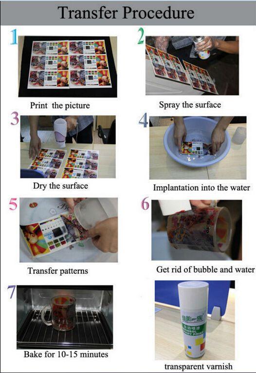 DHL Entrega rápida 100 hojas A4 Impresora láser Diapositiva de agua Calcomanías Hojas de papel Transparente Transparente