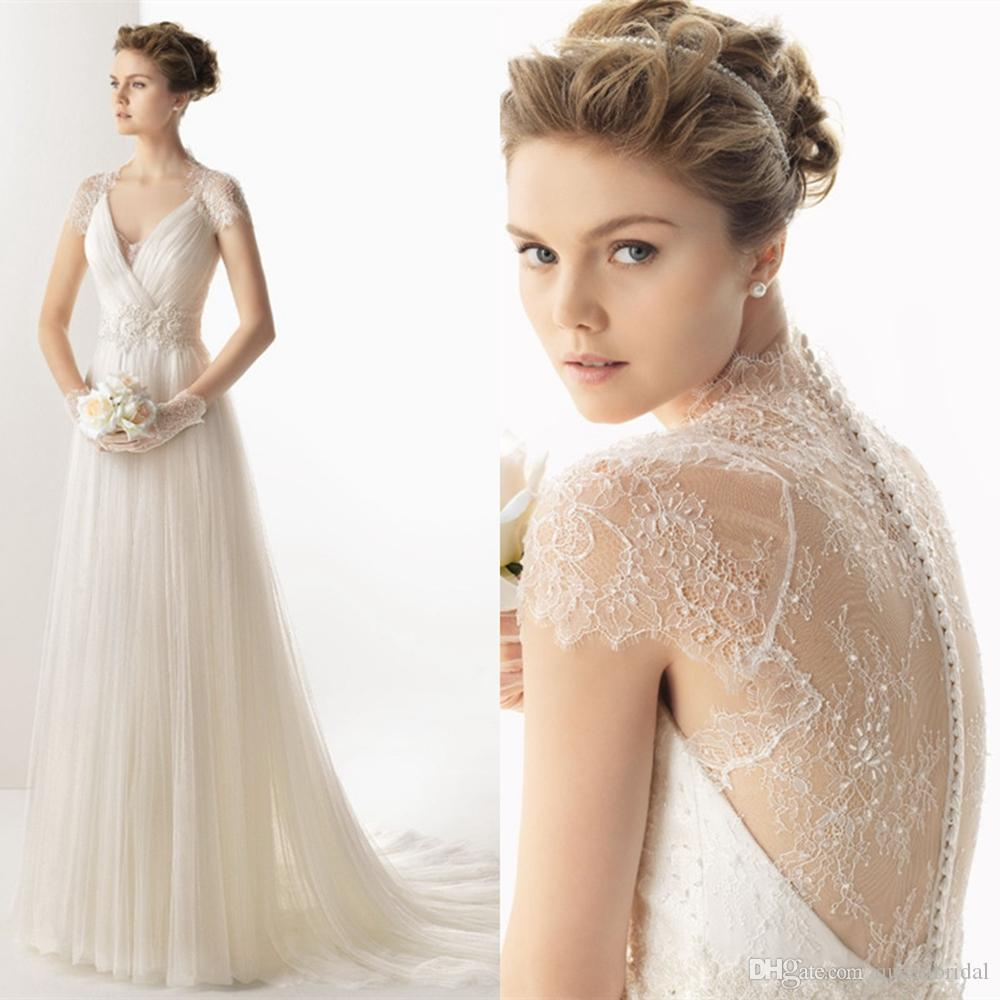 Discount 2015 Elegant Sheer Wedding Dresses Lace Covered Button ...