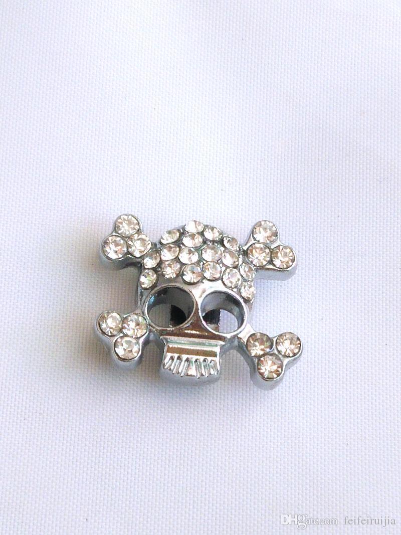 10mm Full Rhinestone Skull Slide Charms Ghost Pendant Zinc Alloy ... f916e6eaf3be