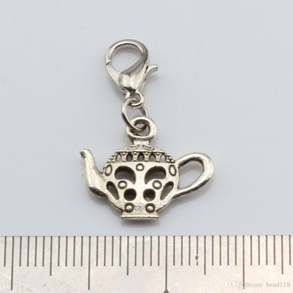 Hot Sales ! Antique Silver Alloy Mixed Teapot Charms With lobster clasp Fit Charm Bracelet 8- style DIY Jewelry