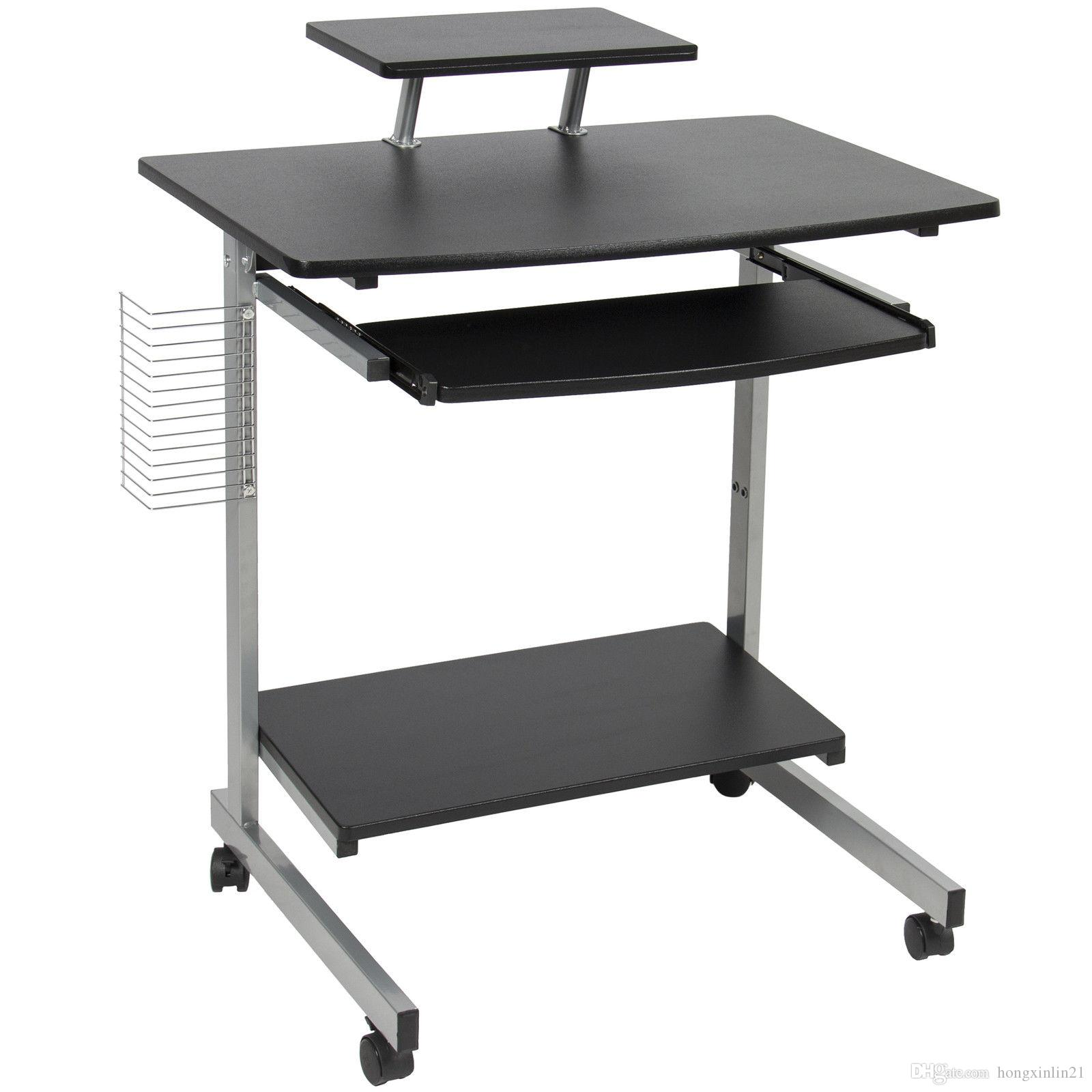 cart height this wheeled pieces pin ergonomic adjustable portable laptop awesome with also brown standing computer as hardwood varnished counter top desk well two
