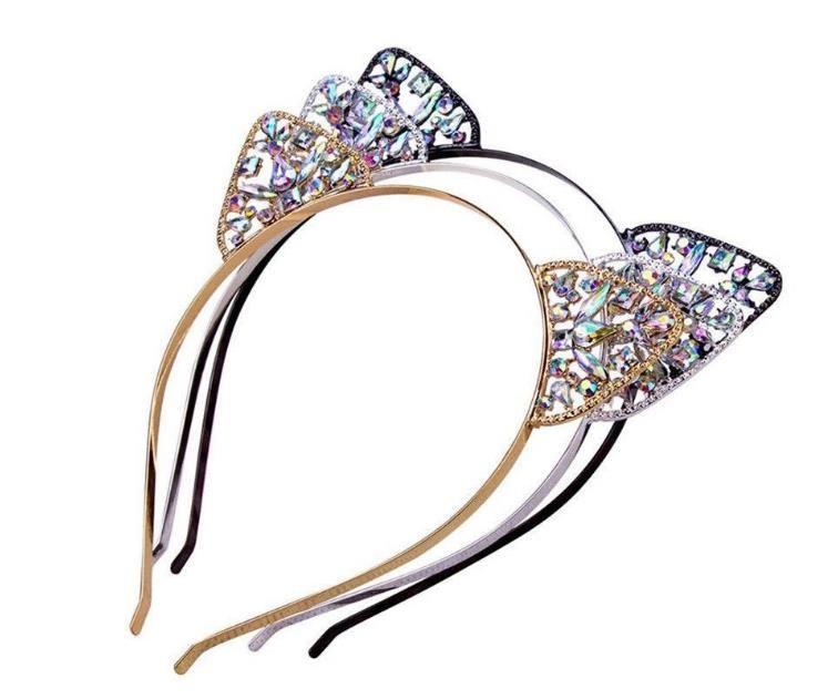 Çocuklar Kızlar Sevimli Metal Rhinestone Kedi Kulak Bandı Saç Aksesuarları Şapkalar