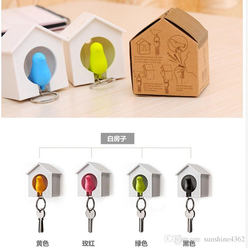 Best HOT New Hot Bird Nest Sparrow House Key Chain Ring Chain Wall Hook Holders Plastic Whistle