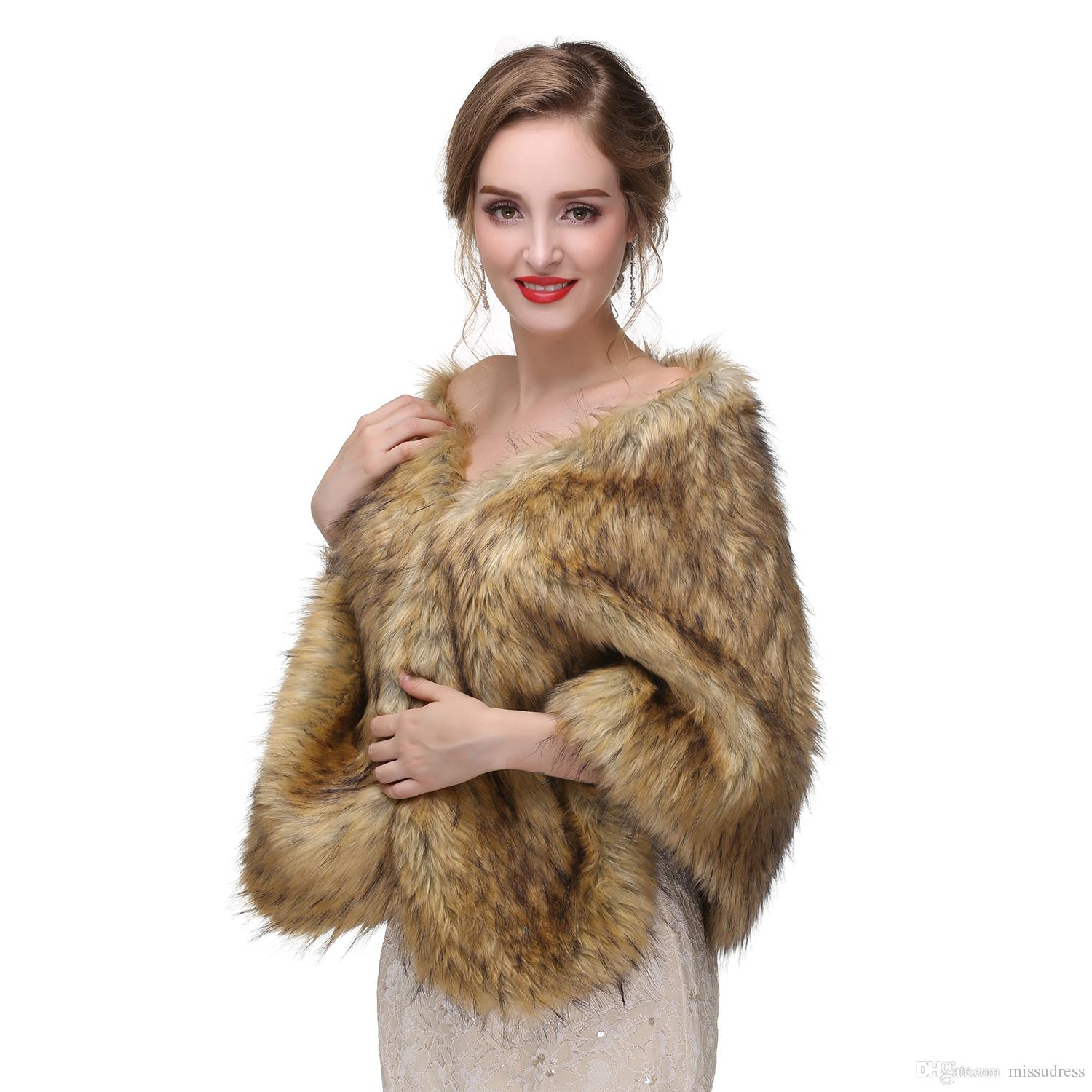New Arrival Burgundy Winter Wedding Accessories Fur Wedding Jacket Bridal Wrap Women Wedding Cape
