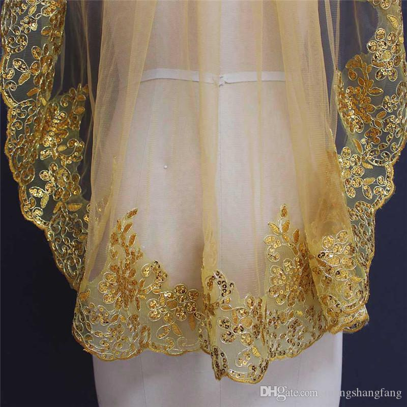 Real Photos One Layer Sequins Lace Edge Gold Short Bridal Veil with Comb Single Tier Wedding Veils NV7099