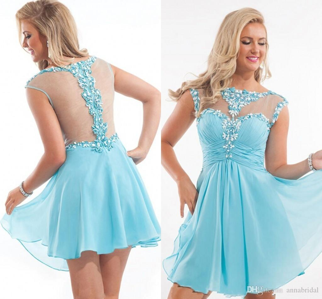 Cheap Short Homecoming Dresses 2015 Sheer Cap Sleeves Bateau See ...