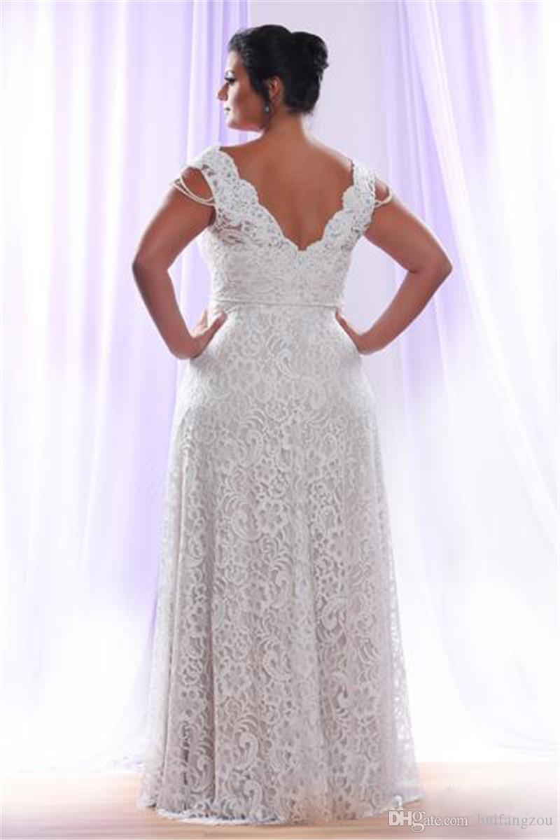Billig Plus Size Volle Spitze Brautkleider Mit Abnehmbaren Langen Ärmeln V-ausschnitt Brautkleider Bodenlangen A Line Brautkleid