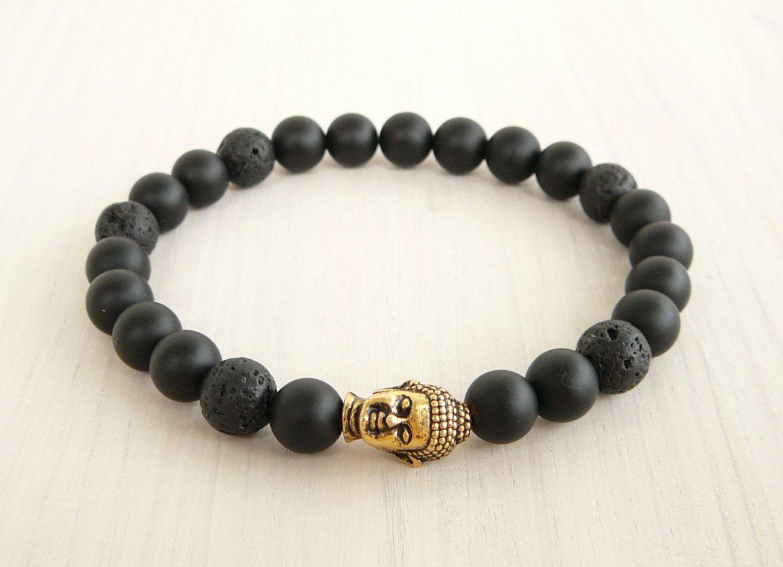 SN0230 Lucky Buddha Armband Yoga Armband Zwart Lava Matte Onyx Kralen Armband Boeddha Sieraden Trendy Mala Armband