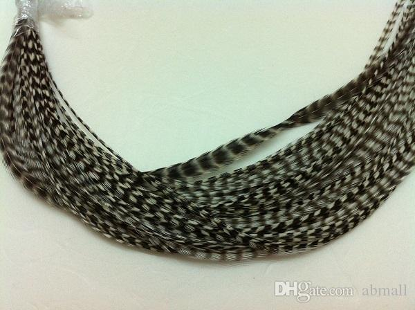 """/pack Black/white color Feather hair extension Hot sale 8-14"""" 100% Real Grizzly Thin Rooster Feather hair extensions"""