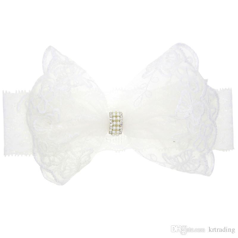 Neonate Bianco pizzo fiocco fascia perle acriliche pizzo bianco puro hairband elastico neonati puntelli della foto cappelli