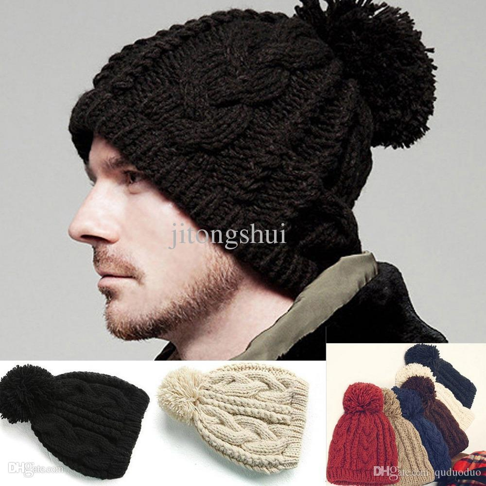 Men Cable Knit Beanie Women CHUNKY Crochet Pom Ski Hat Ladies Hats Crazy  Hats From Quduoduo b343a223078c