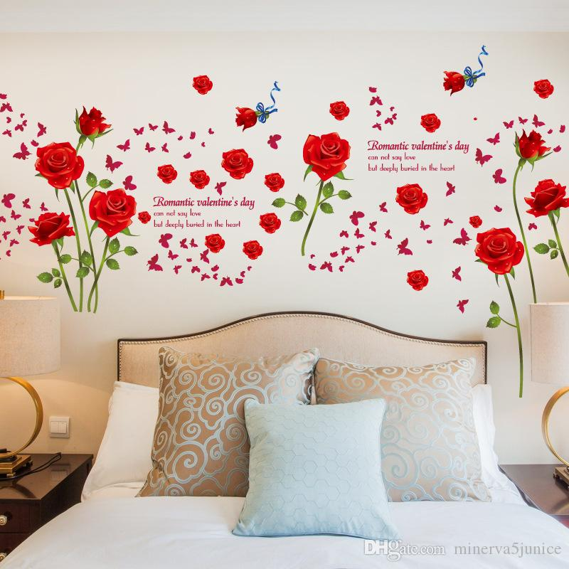 Großhandel Mode Romantische Rose Blume Wandaufkleber Blume Reben ...