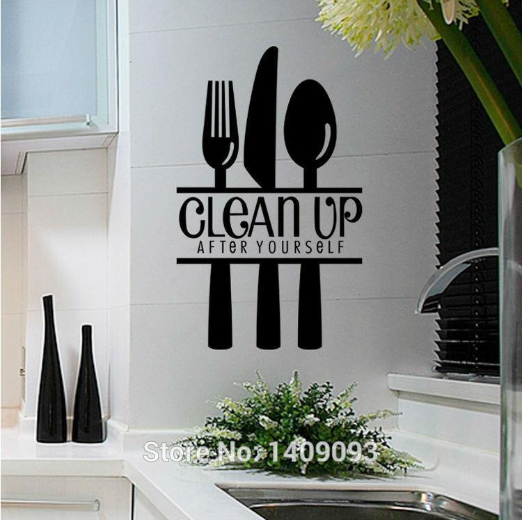 Kitchen Decoration Wall Decals Knife And Fork Spoon Diy Kitchen Wall Decal  Quotes Clean Up Letter Removable Vinyl Sticker Decals Wall Art Decals Wall  ...