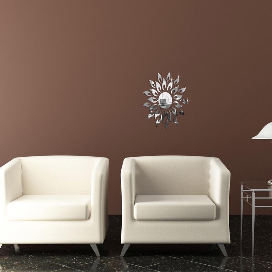 DIY Acrylic Gold Silver Art Sticker Mirror Wall Stickers - Sun Flower Shape Home Bedroom Office Decor Mural Decoration wall sticker