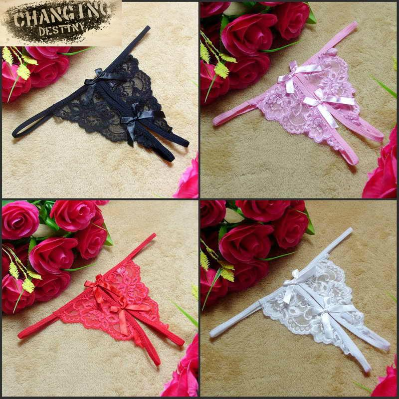 Taille libre 5 Couleur Femmes Sexy Dentelle T Back G-string V-string Ouvert Fourche Brief pour Lady Tanga Arc Knicker Strappy Thongs Culotte