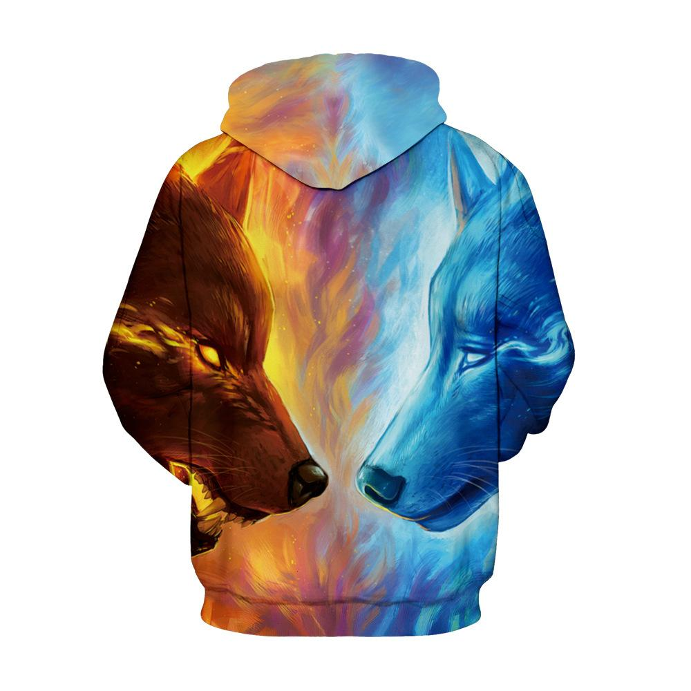 1d32ead7c65d47 New Fashion Men   Women Ice Coyote Hooded Sweater Couples 3d ...