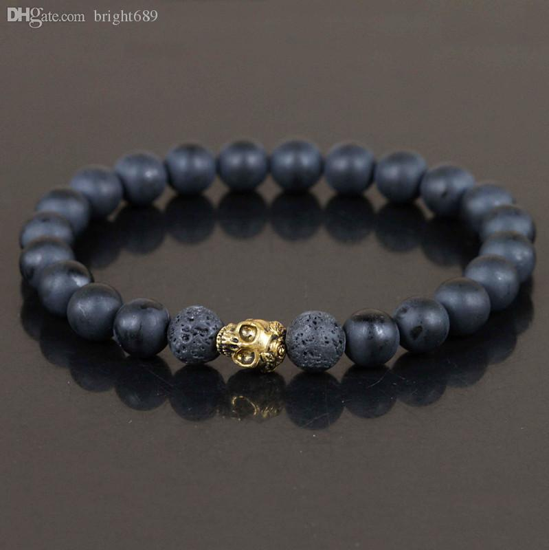 Wholesale Mens Matte Black Agate Beads Bracelet Golden Skull